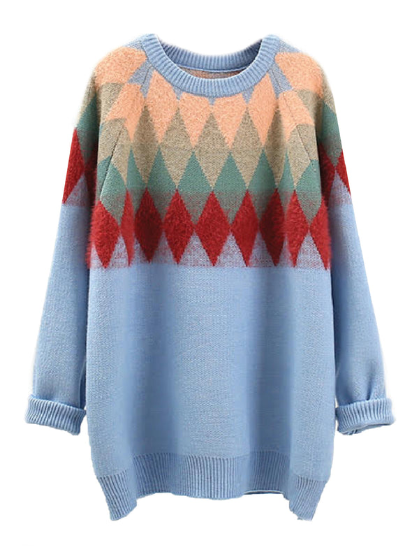 'Kami' Diamond Pattern Sweater (4 Colors)