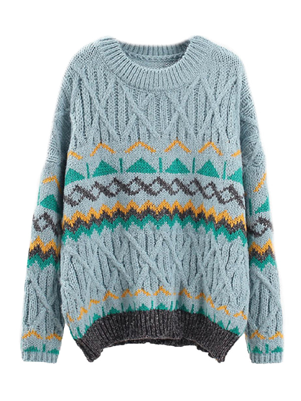 'Joya' Aztec Pattern Cable Knit Sweater (3 Colors)
