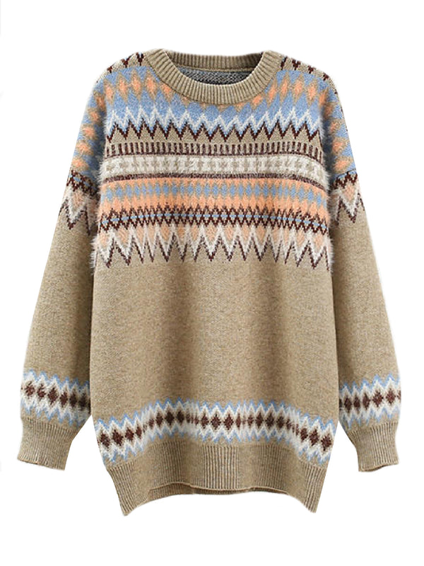 'Leila' Aztec Pattern Crewneck Sweater (3 Colors)