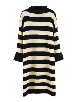 'Sheba' Striped Roll Neck Knitted Dress (2 Colors)