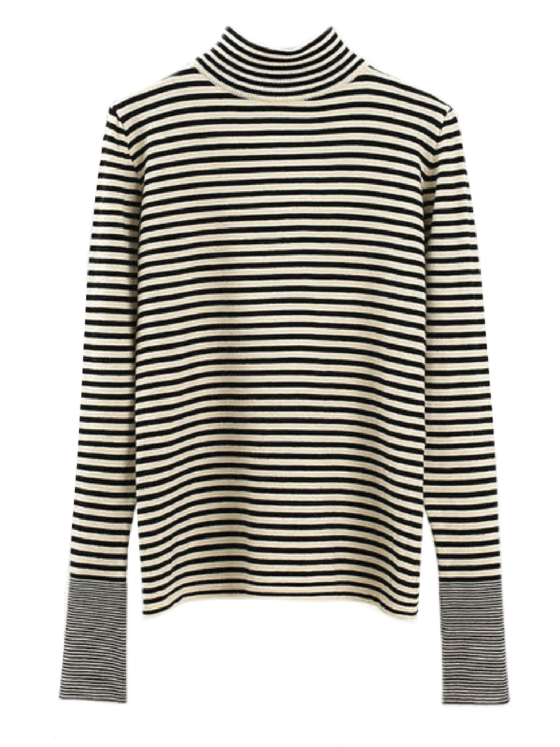 'Netty' Striped Mock Neck Knitted Top (2 Colors)