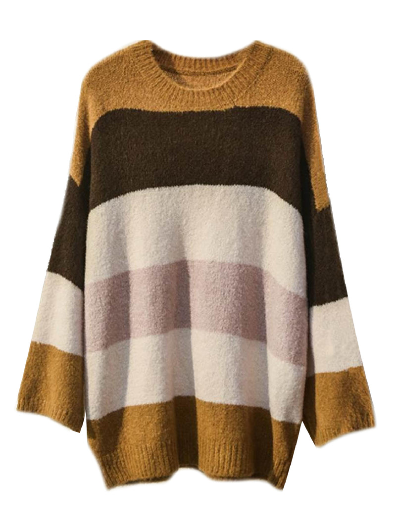 'Indu' Color Block Crewneck Sweater (4 Colors) – Plus Size