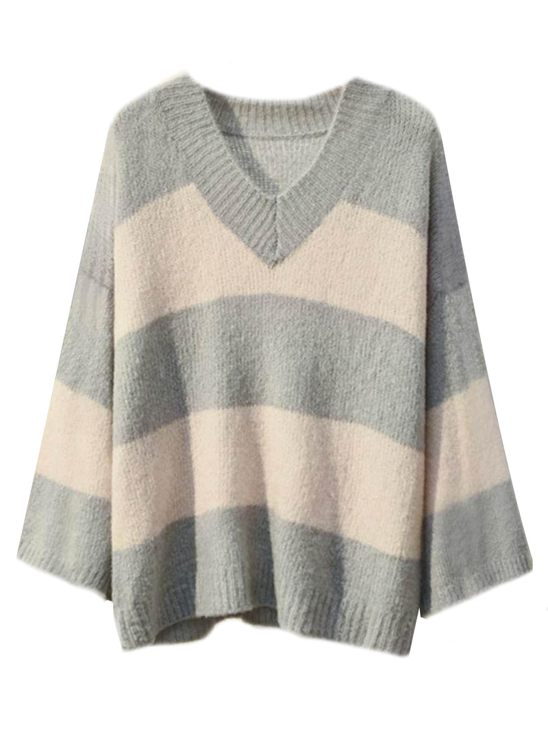'Lacey' Striped V-Neck Sweater (3 Colors) – Plus Size