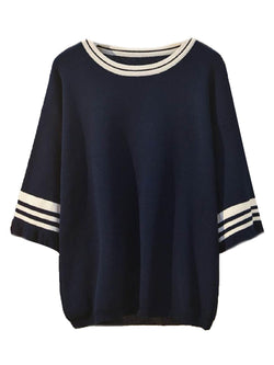 'Joey' Varsity Three Quarter Sleeve Knitted Top – Plus Size