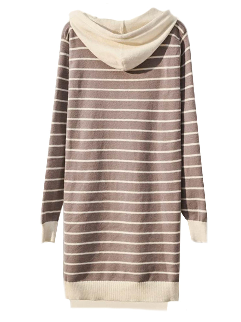'Vivien' Striped Longline Hooded Sweater (2 Colors) – Plus Size