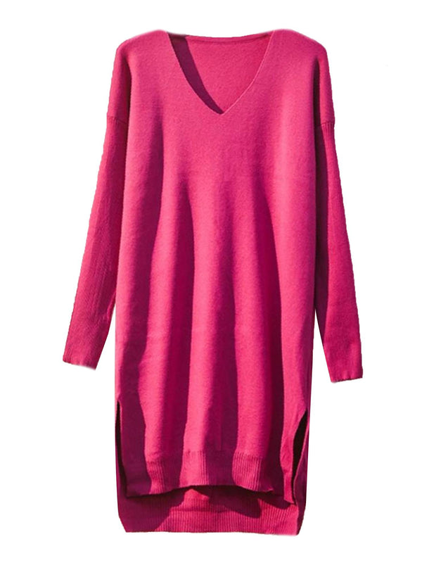 'Brenda' V-Neck Longline Sweater (4 Colors) – Plus Size