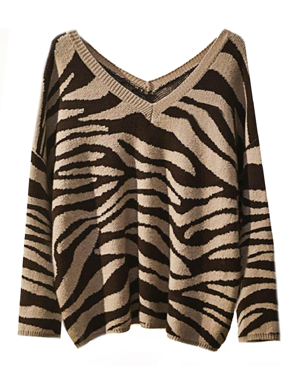 'Madeline' Zebra Print V-Neck Sweater (3 Colors) – Plus Size