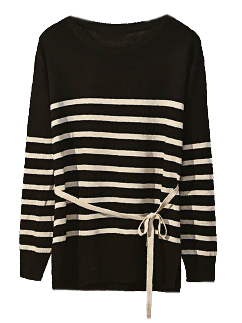 'Victoria' Tied Waist Striped Sweater – Plus Size