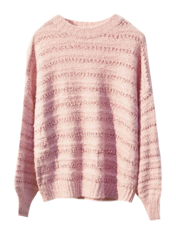 'Tin' Striped Mixed Knit Sweater (2 Colors) – Plus Size