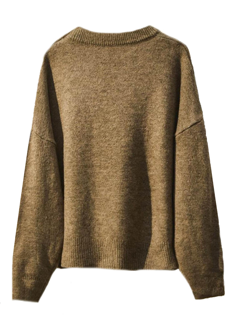 'Janette' Crewneck Knitted Sweater (2 Colors) – Plus Size