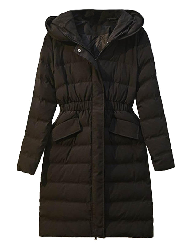 'Charlene' Pom Pom Hood Fitted Puffer Coat – Plus Size