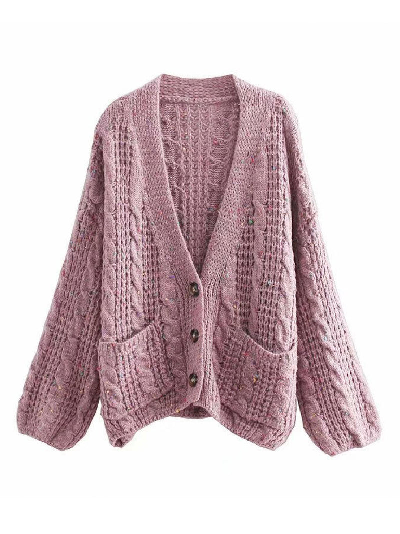 'Lavender' Cable Knit Button Down Oversized Cardigan