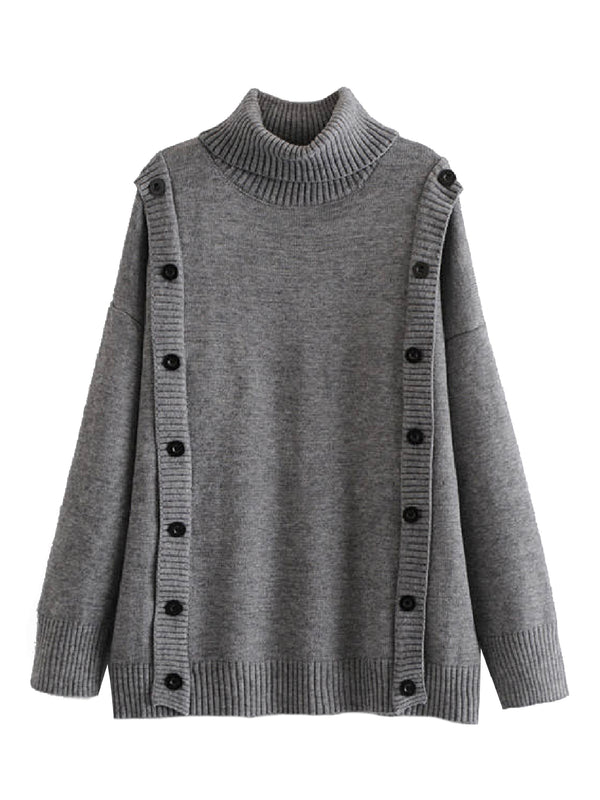 'Kaijai' Buttoned Detail Roll Neck Sweater (2 Colors)
