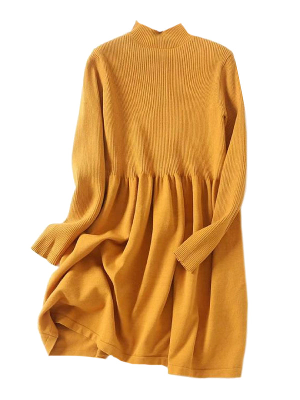 'Laken' High Neck Dolly Knitted Dress (3 Colors)