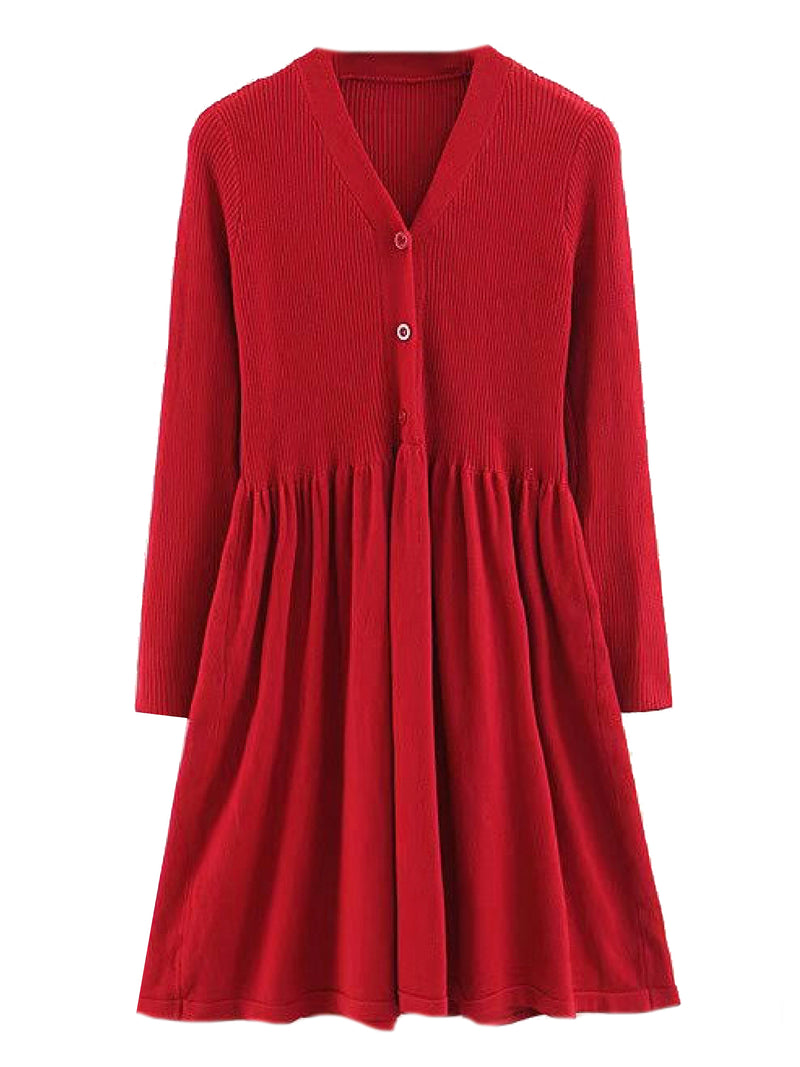 'Mandy' Button Down Dolly Ribbed Knit Dress (3 Colors)