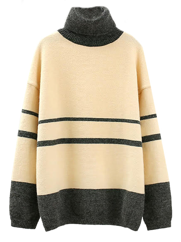 'Onie' Roll Neck Bicolor Sweater (3 Colors)