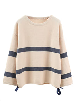 'Danae' Striped Ribboned Sleeve Sweater (3 Colors)