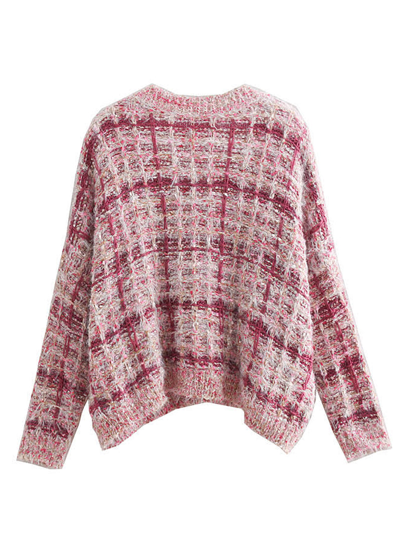 'Javiera' V Neck Tweed Texture Sweater (2 Colors)
