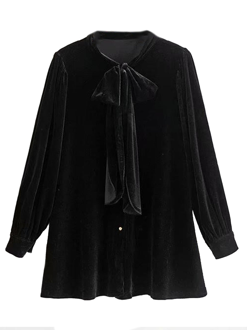 'Maija' Velvet Bow Tied Blouse (3 Colors)