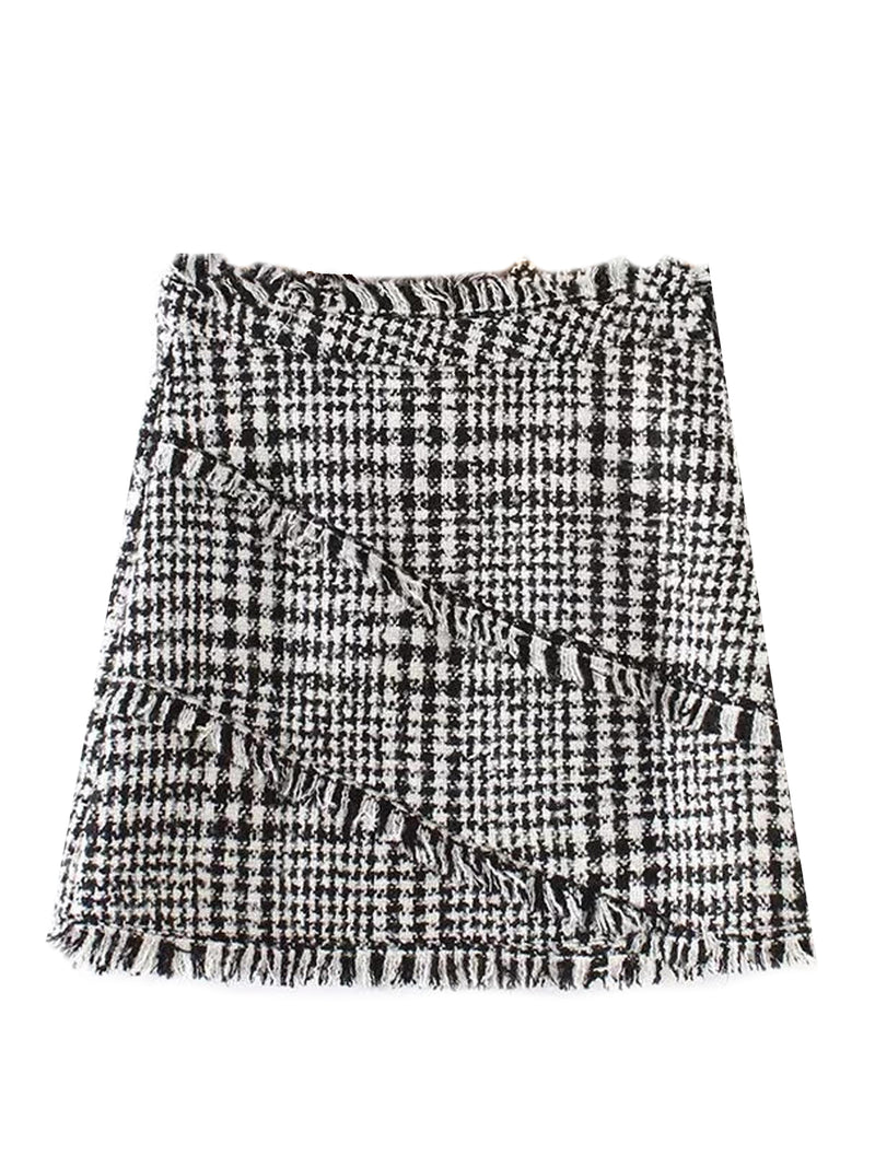 'Helen' Houndstooth Tweed Mini Skirt (2 Colors)