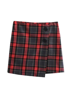 'Cathy' English Plaid Buttoned Mini Skirt