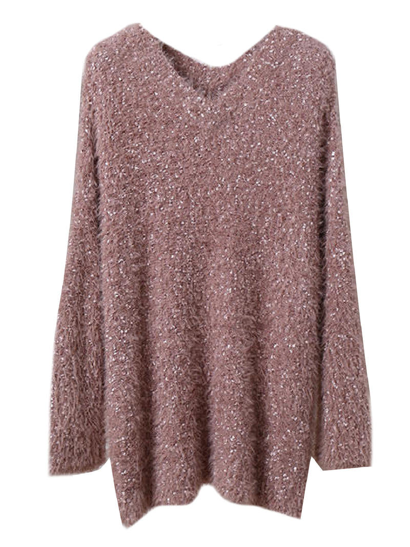 'Elsa' Metallic Tread Longline V-Neck Sweater (5 Colors)