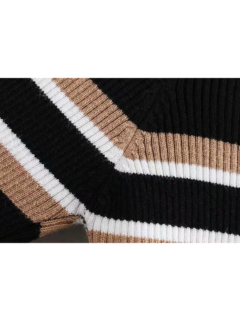 'Nita' Striped Ribbed Knit Turtleneck Sweater