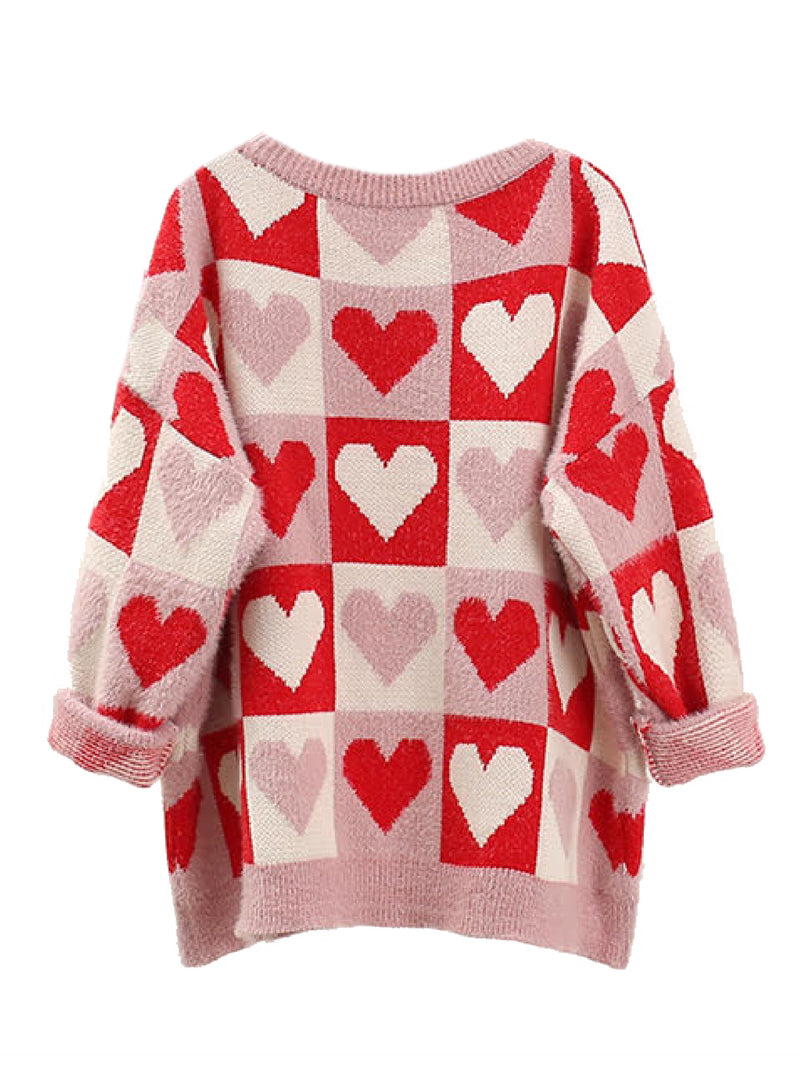 'Fiona' Heart Pattern Oversized Sweater (2 Colors)