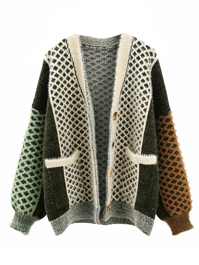 'Jensenia' Mixed Knit Button Down Cardigan (3 Colors)