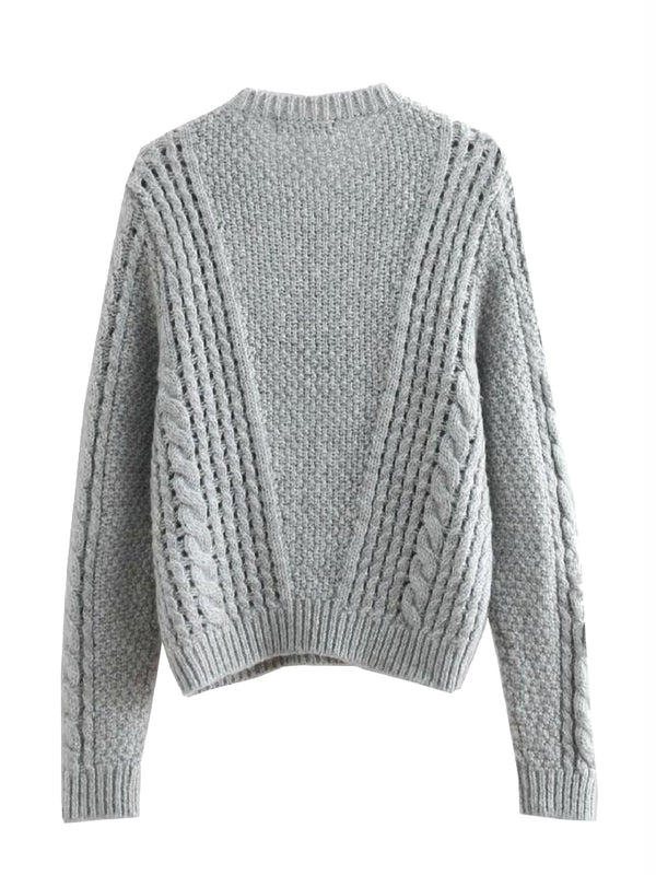 'Manee' Grey Cable Knit Sweater
