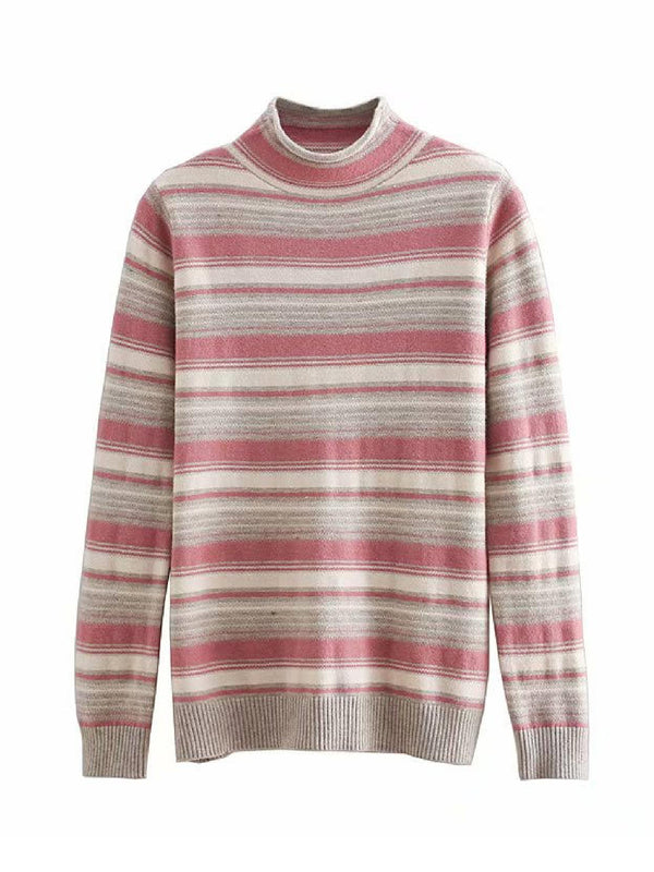 'Jani' Striped Mock Neck Sweater (3 Colors)