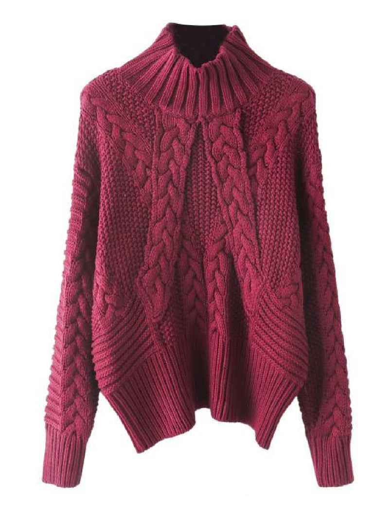 'Grace' Braided Knit Mock Neck Sweater (2 Colors)