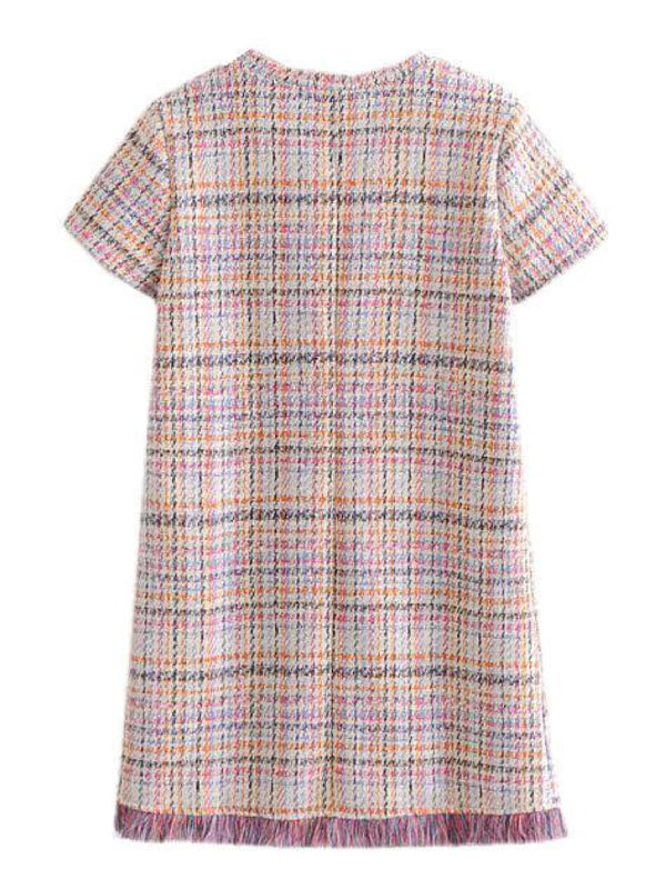 'Sonia' Short Sleeve Tweed Mini Dress
