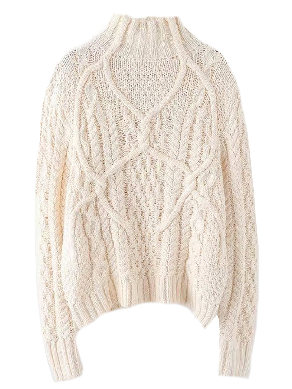 'Karl' Twisted Knit Mock Neck Sweater (2 Colors)