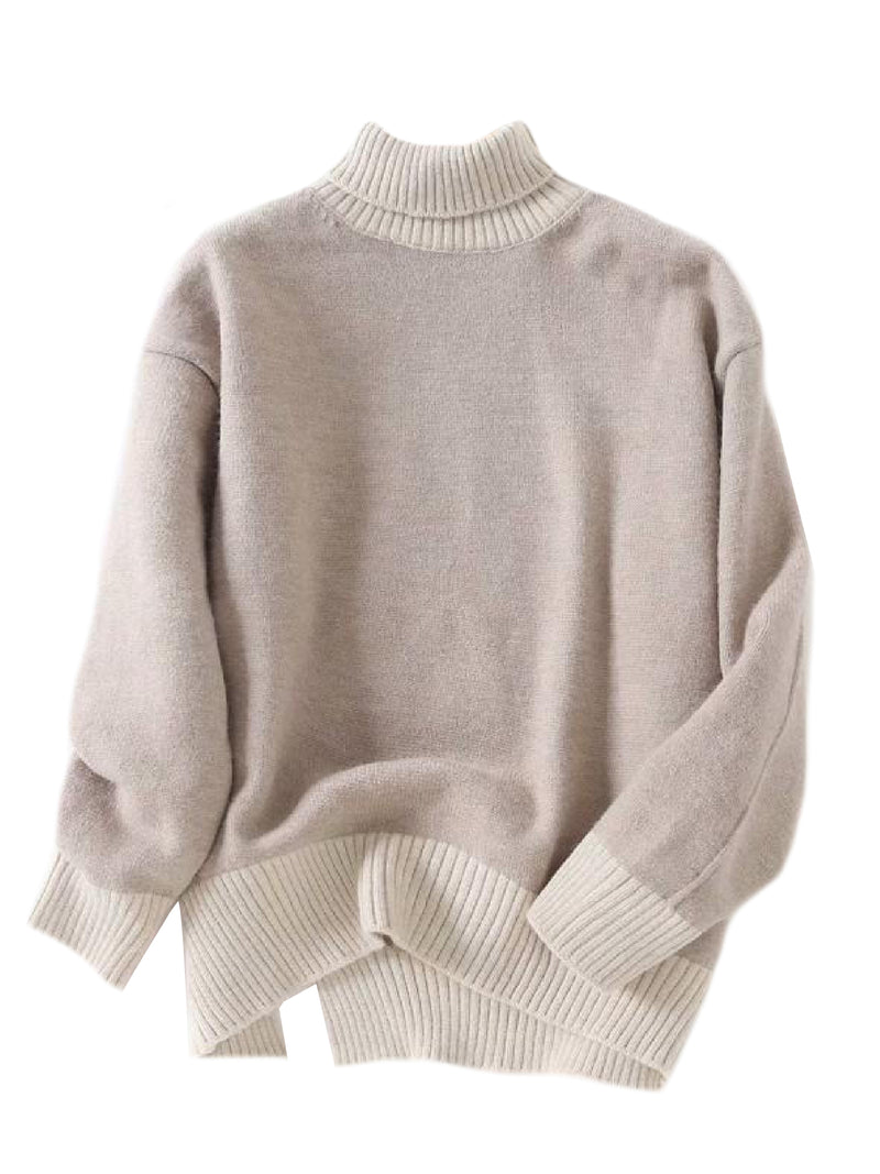 'Morgan' Bicolor Roll Neck Sweater (2 Colors)