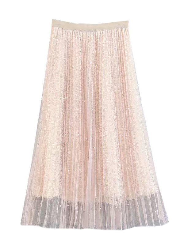 'Maroon' Pearl Embellished Feather Midi Skirt (2 Colors)