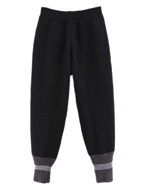'Egberta' Ribbed Knit Cuff Tapered Joggers (2 Colors)