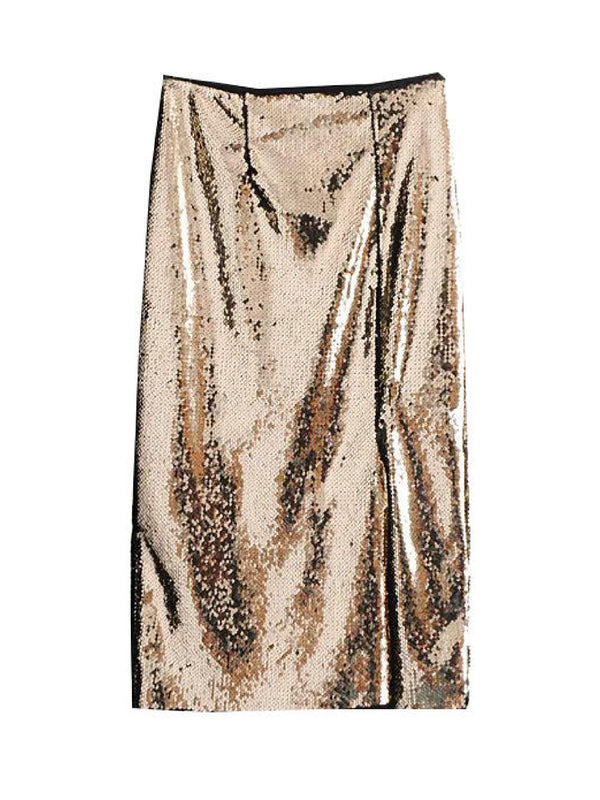 'Jean' Gold Sequinned Skirt