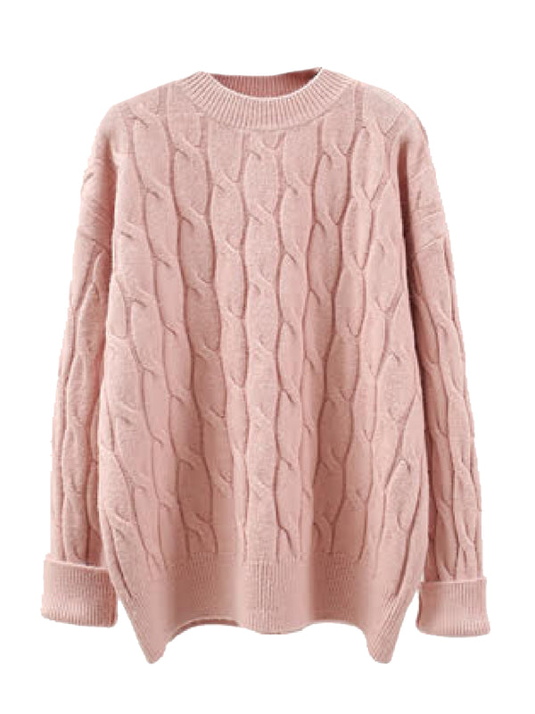 'Edie' Cable Knit Crewneck Sweater (4 Colors)