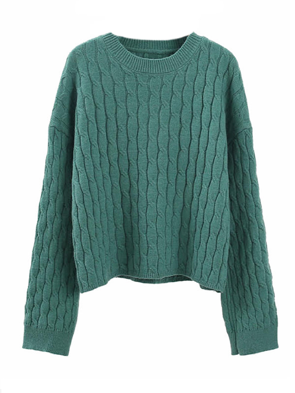 'Kenzy' Cable Knit Crewneck Sweater (4 Colors)