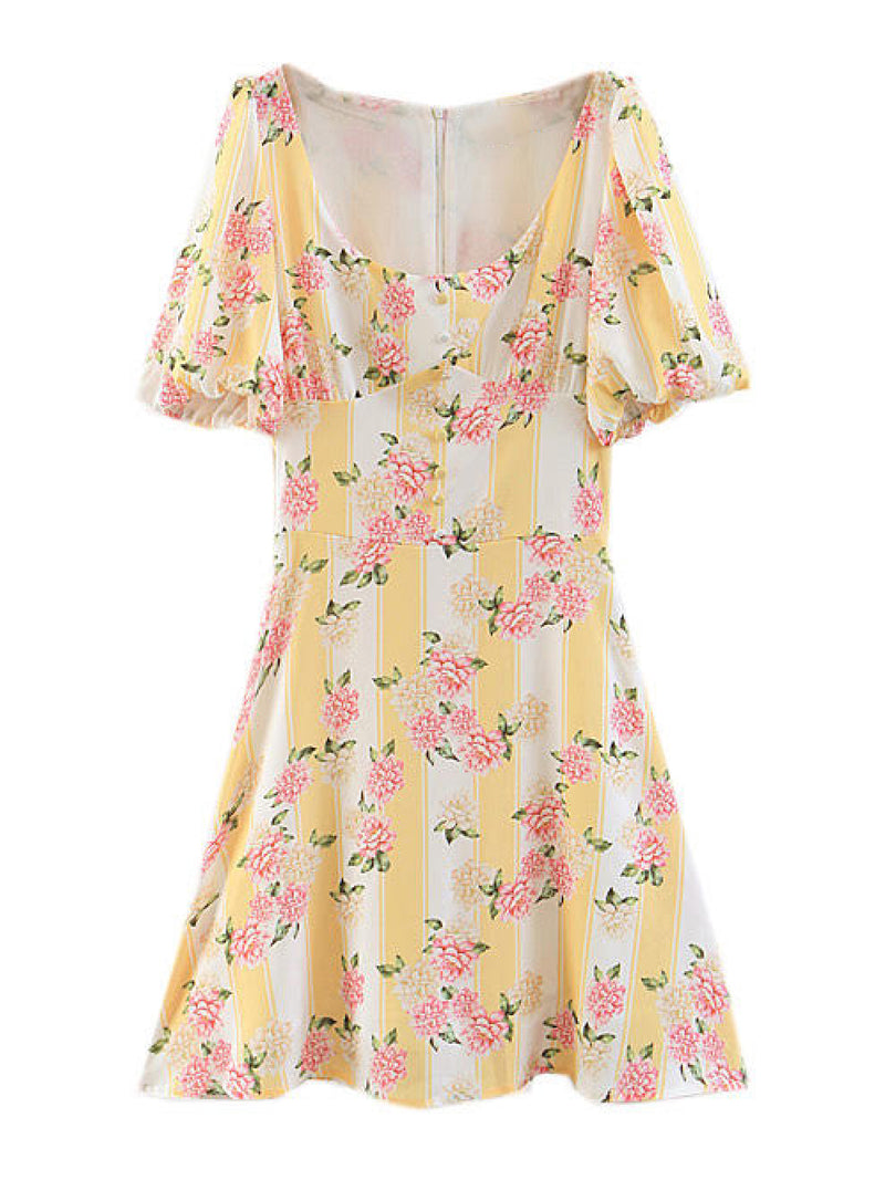 'Lalla' Floral Print Retro Princess Sleeve Mini Dress