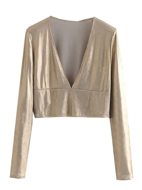 'Yanny' Gold Metallic Deep V-Neck Top