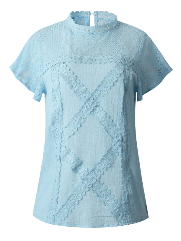 'Cece' Lace Crochet Frilled Sleeve Linen Top (3 Colors)