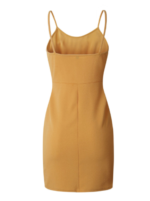 'Margaux' Mustard Yellow Knotted Strap Mini Dress
