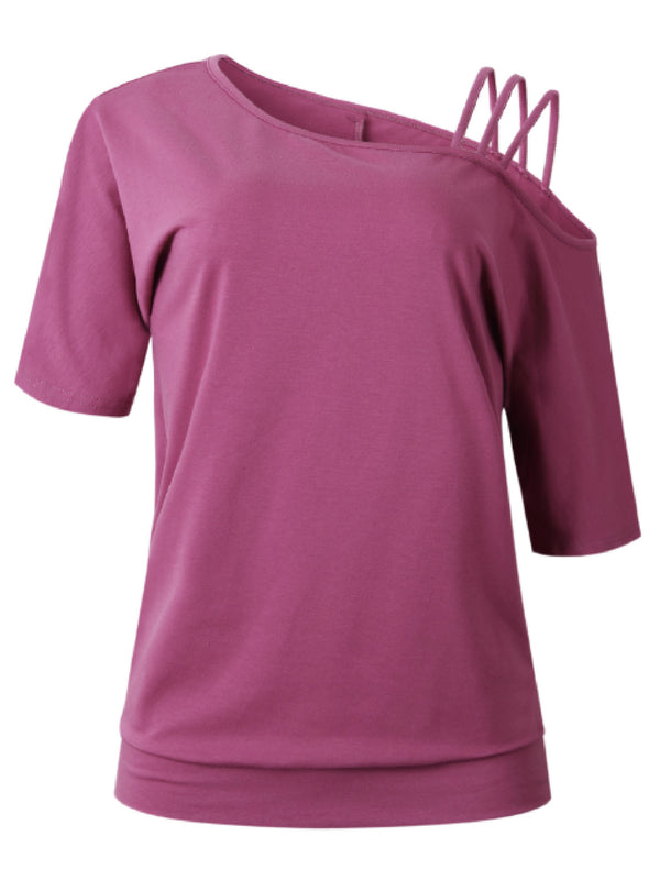 'Samia' One Shoulder Strapped T-Shirt (4 Colors)