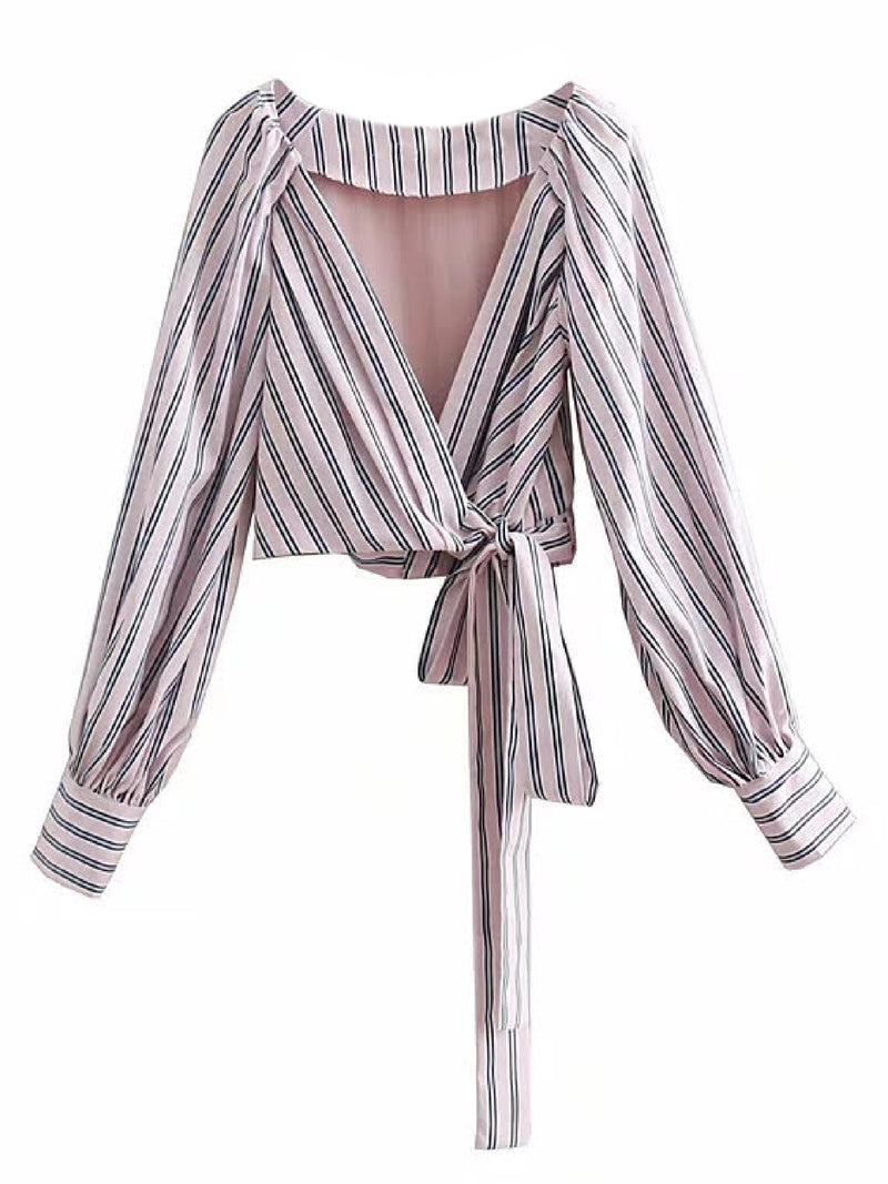 'Jade' Pinstriped Tied Crop Top