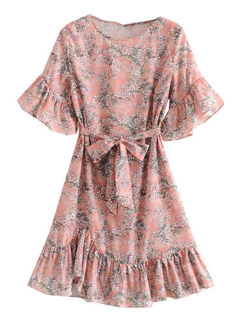 'Lottie' Floral Print Frilled Belted Mini Dress
