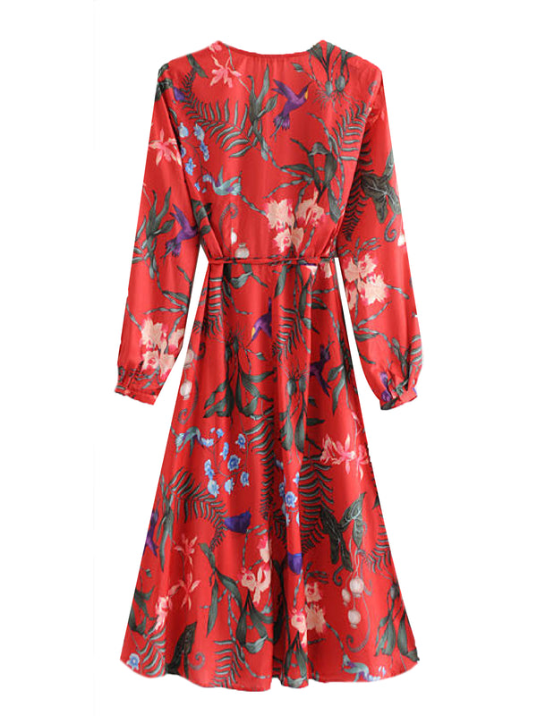 'Nellie' Tropical Print Wrap Midi Dress