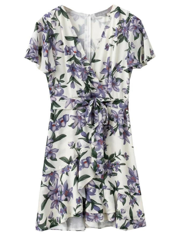 'Ronda' Floral Print Wrap Mini Dress (3 Colors)