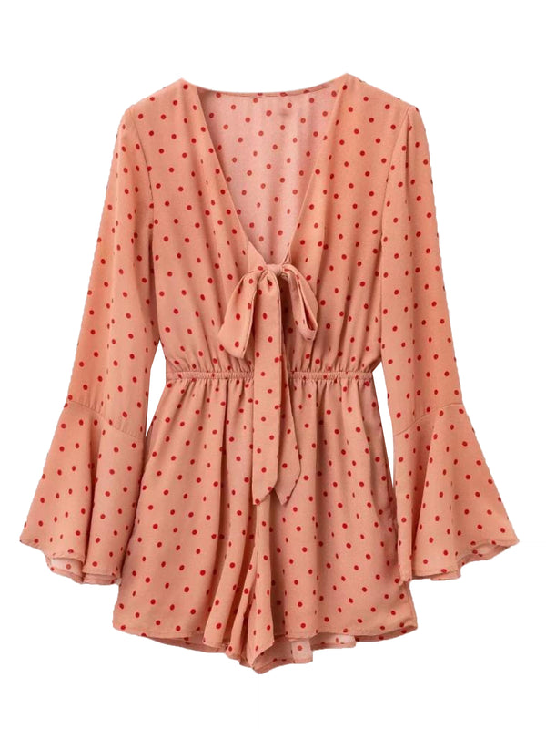 'Jemima' Polka Dot Tied Front Romper (2 Colors)